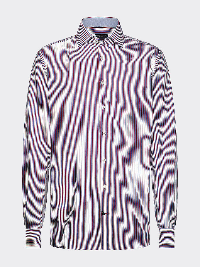 red th flex stripe slim fit shirt for men tommy hilfiger