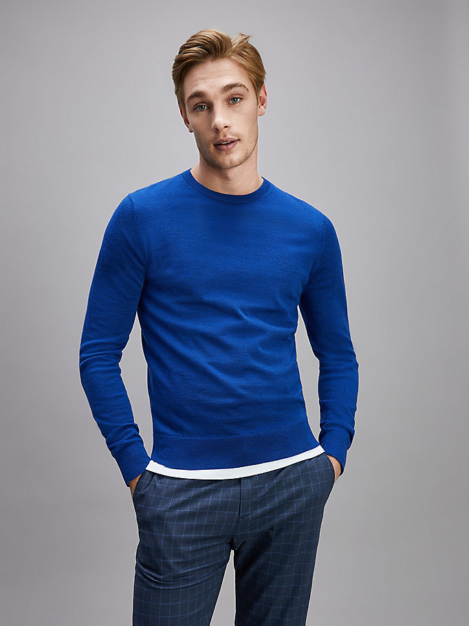 blue luxury wool crew neck jumper for men tommy hilfiger