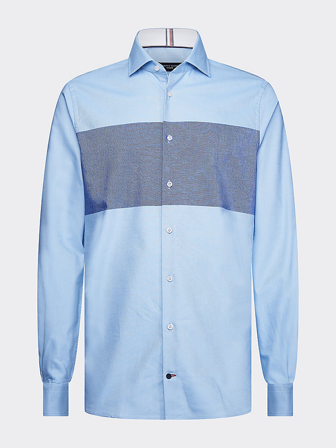 blue stripe slim fit oxford shirt for men tommy hilfiger