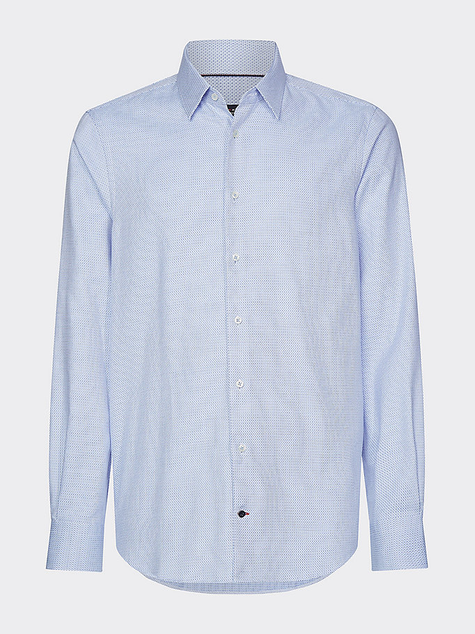 blue dobby point collar slim fit shirt for men tommy hilfiger