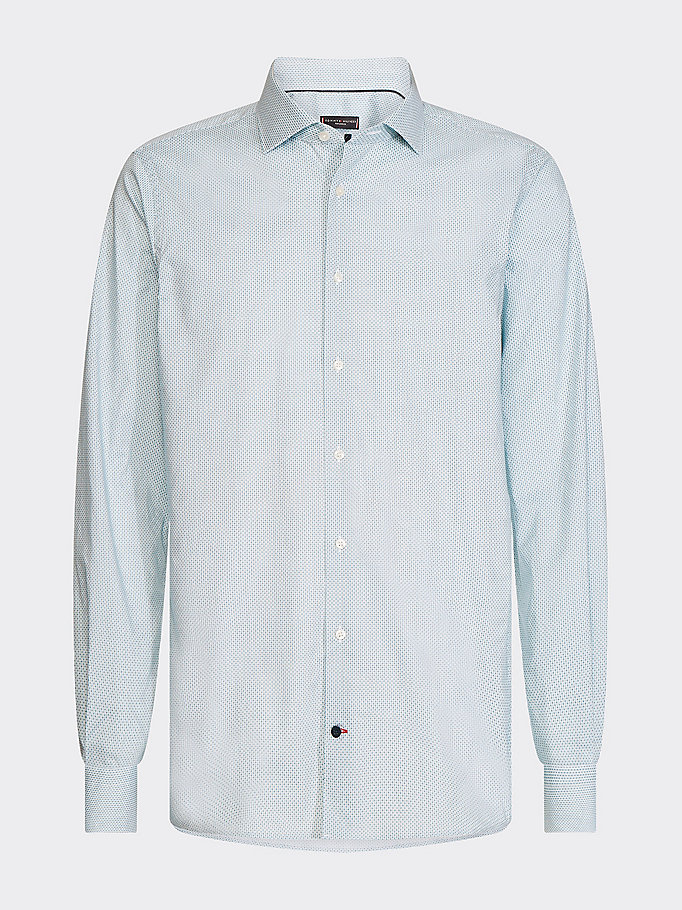 green micro square slim fit shirt for men tommy hilfiger