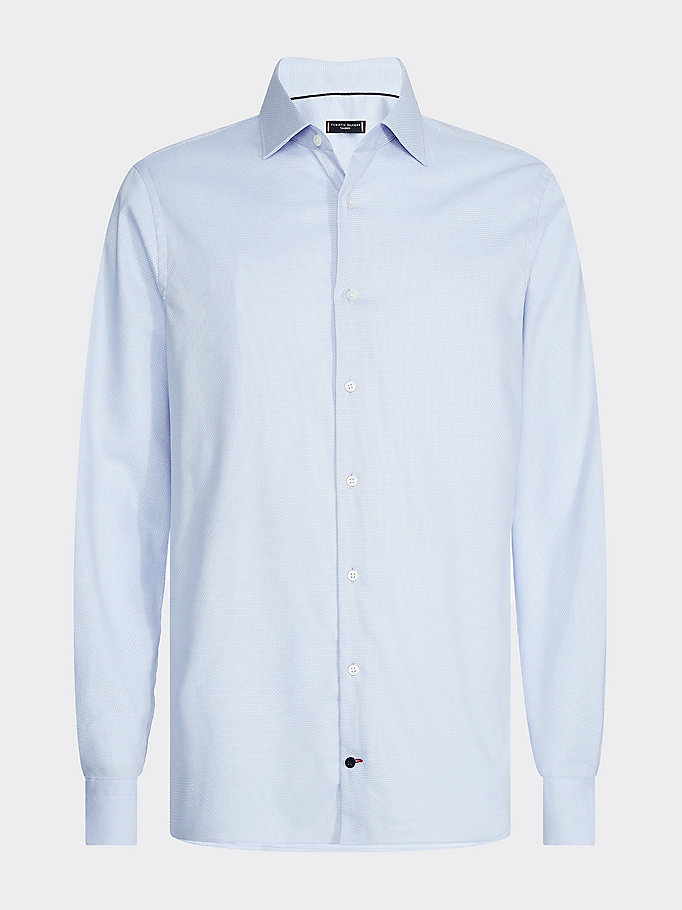 camicia slim fit in cotone dobby stretch blu da uomo tommy hilfiger