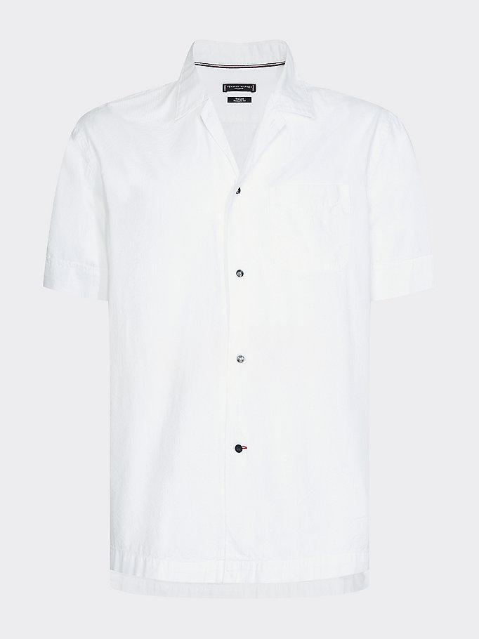Overhemd met Cubaanse kraag en korte mouwen | WHITE | Tommy