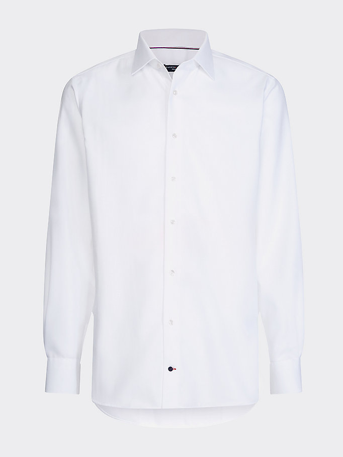 white dobby pure cotton shirt for men tommy hilfiger