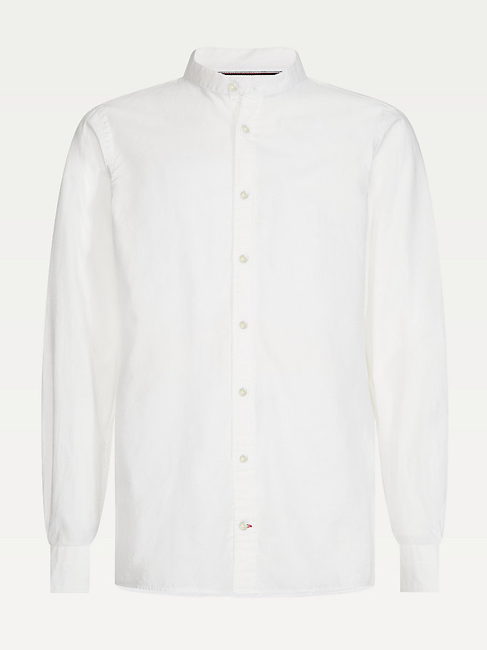 white mandarin collar dobby slim fit shirt for men tommy hilfiger