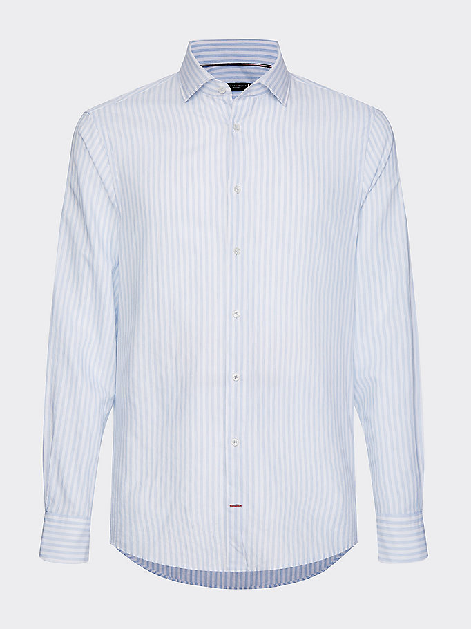 blue all-over stripe slim fit shirt for men tommy hilfiger