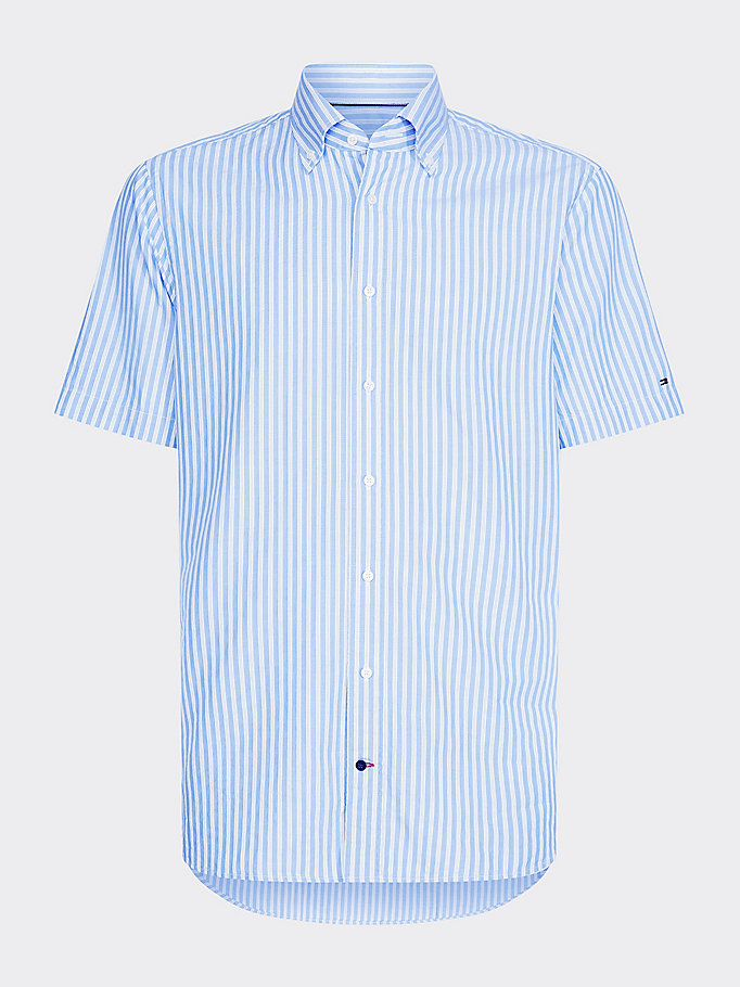 blue short sleeve stripe shirt for men tommy hilfiger