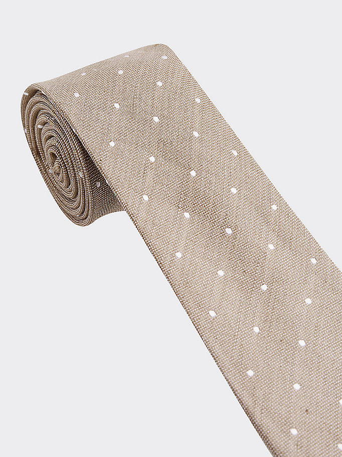 beige essential silk linen dot design tie for men tommy hilfiger