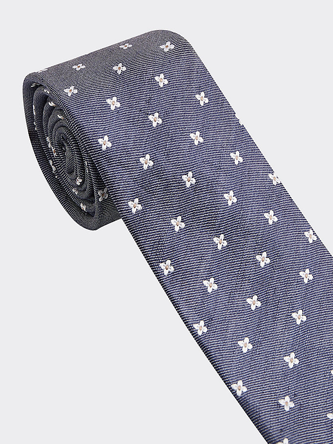 blue essential silk linen floral embroidery tie for men tommy hilfiger