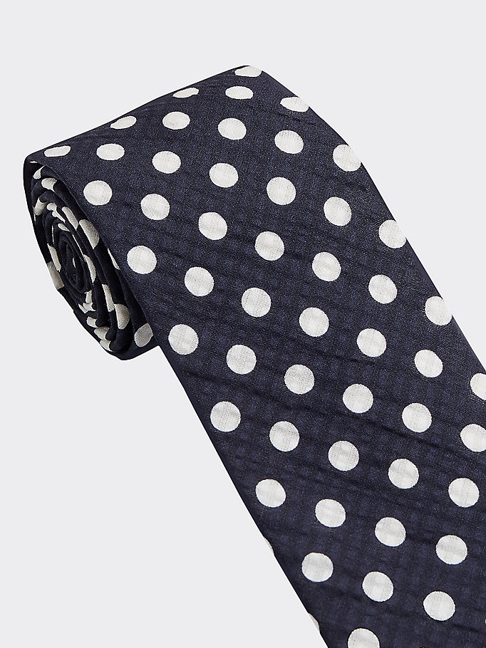 blue cotton silk dot tie for men tommy hilfiger