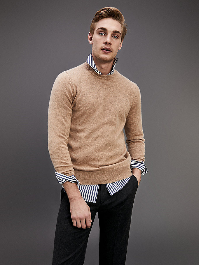 brown pure cashmere crew neck jumper for men tommy hilfiger