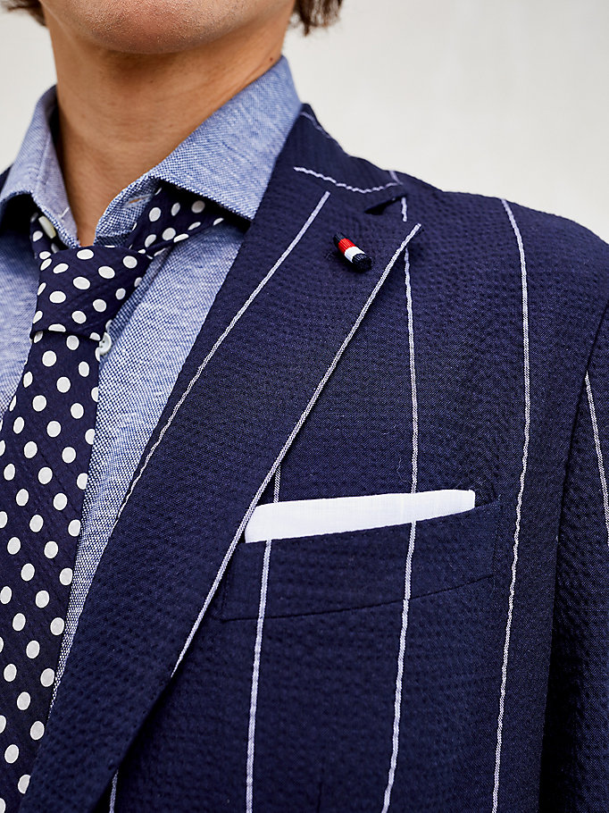blue th flex pinstripe slim fit blazer for men tommy hilfiger