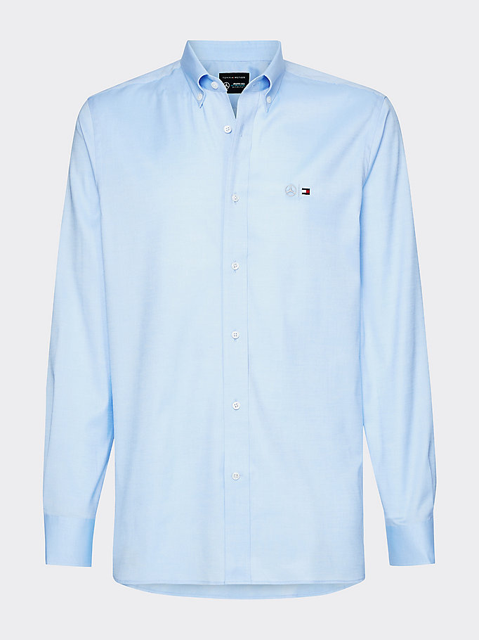 blue mercedes-benz stretch oxford shirt for men tommy hilfiger