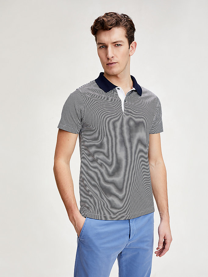 blue classic stripe slim fit polo for men tommy hilfiger