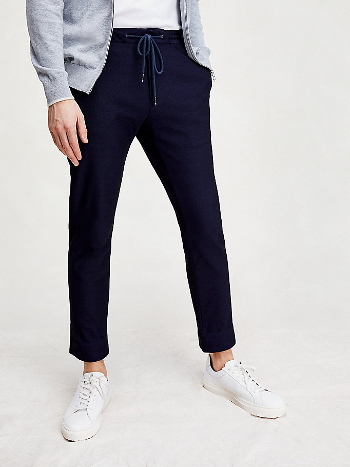 pantaloni th flex coolmax slim fit blu da uomo tommy hilfiger