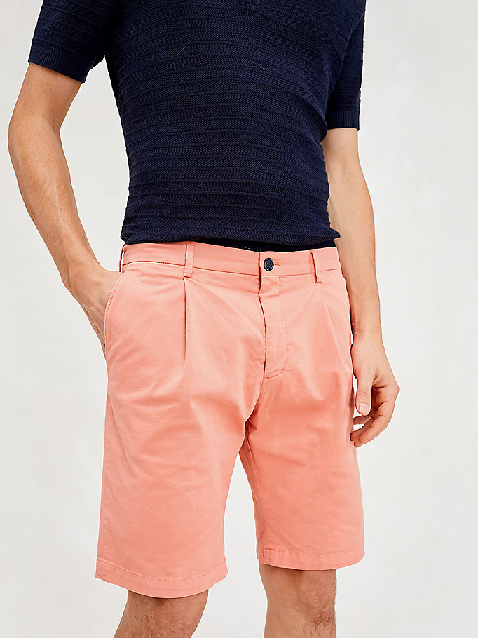 pink stretch cotton slim fit shorts for men tommy hilfiger