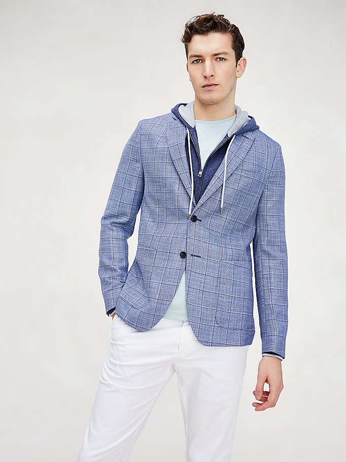 blue essential check slim fit blazer for men tommy hilfiger