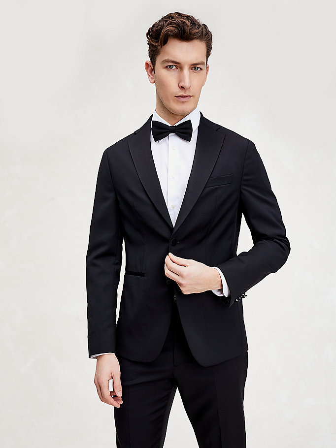 black virgin wool slim fit tuxedo blazer for men tommy hilfiger