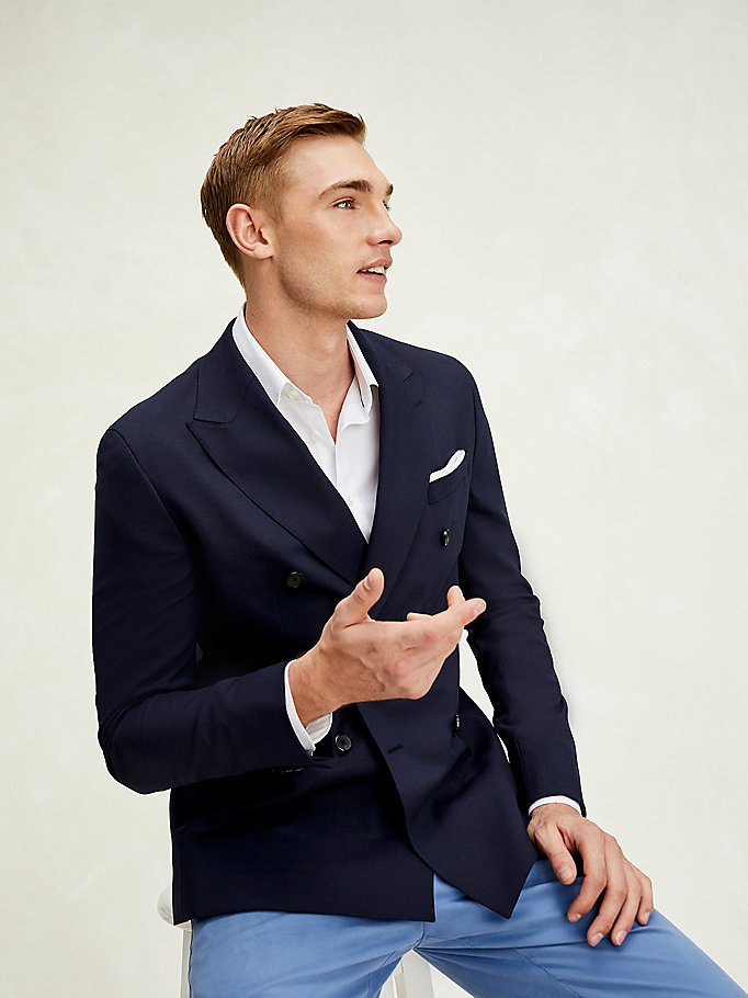 blau th flex zweireihiges slim fit sakko für herren - tommy hilfiger