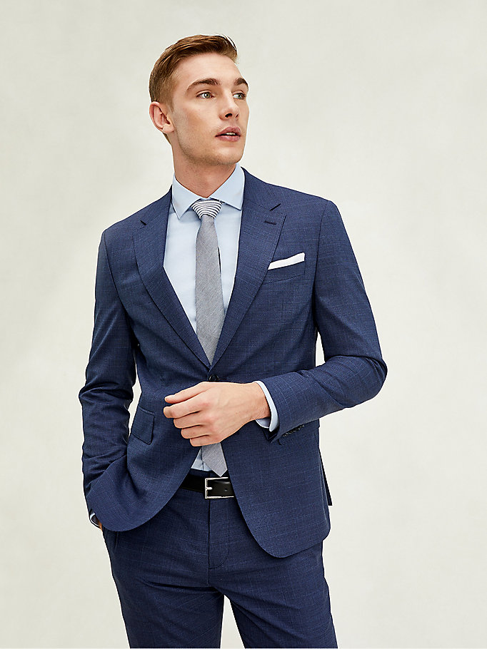 blau th flex essential slim fit sakko für herren - tommy hilfiger