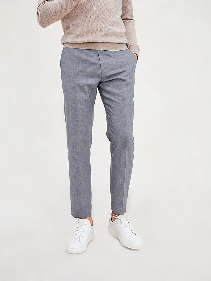 grey th flex slim fit trousers for men tommy hilfiger