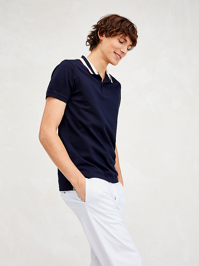 blue essential stripe collar slim fit polo for men tommy hilfiger