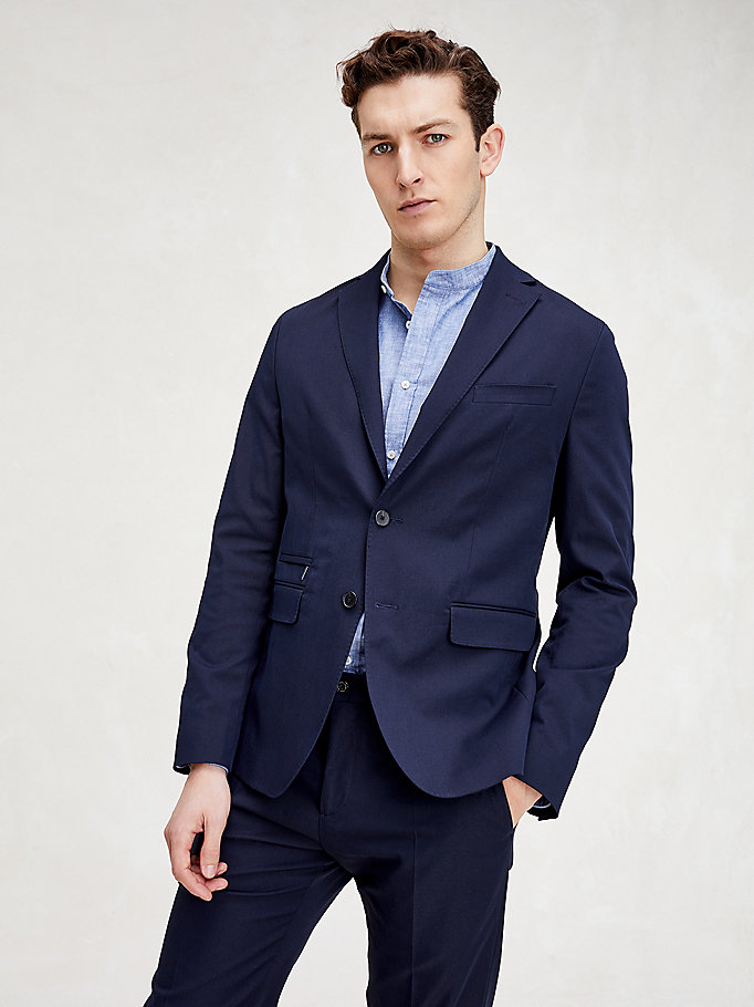 blue essential two piece slim fit suit for men tommy hilfiger