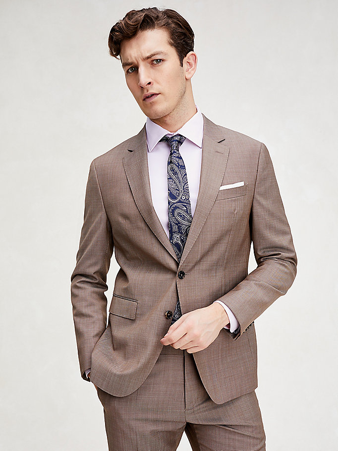 brown virgin wool slim fit suit for men tommy hilfiger