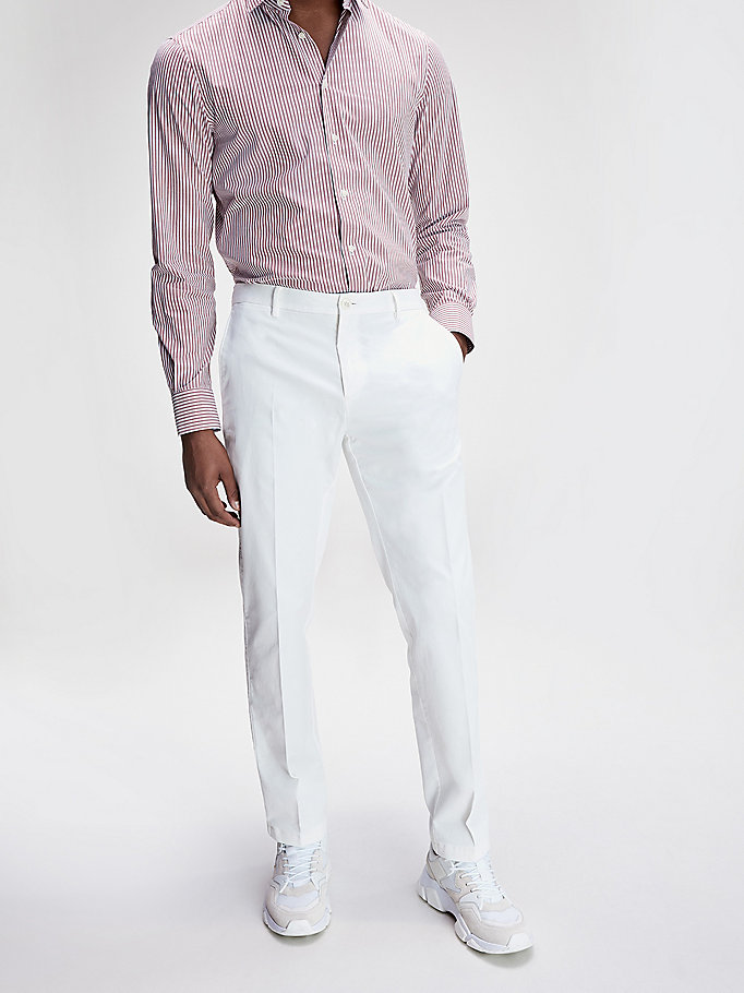 white th flex slim fit trousers for men tommy hilfiger
