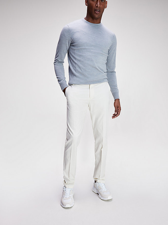 white th flex contrast trim trousers for men tommy hilfiger