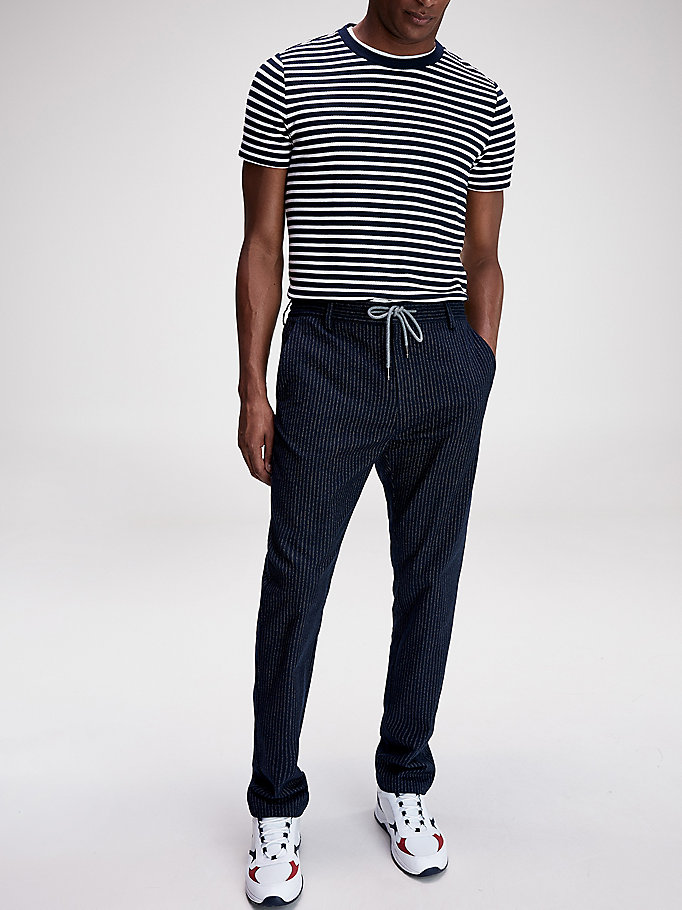 blue th flex pinstripe drawstring trousers for men tommy hilfiger