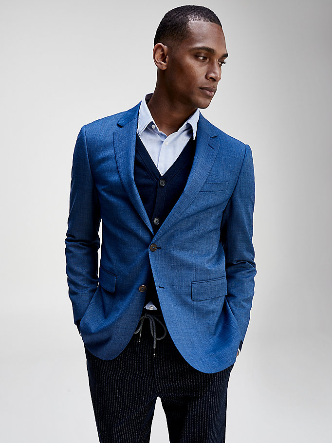 blue signature detail virgin wool blazer for men tommy hilfiger