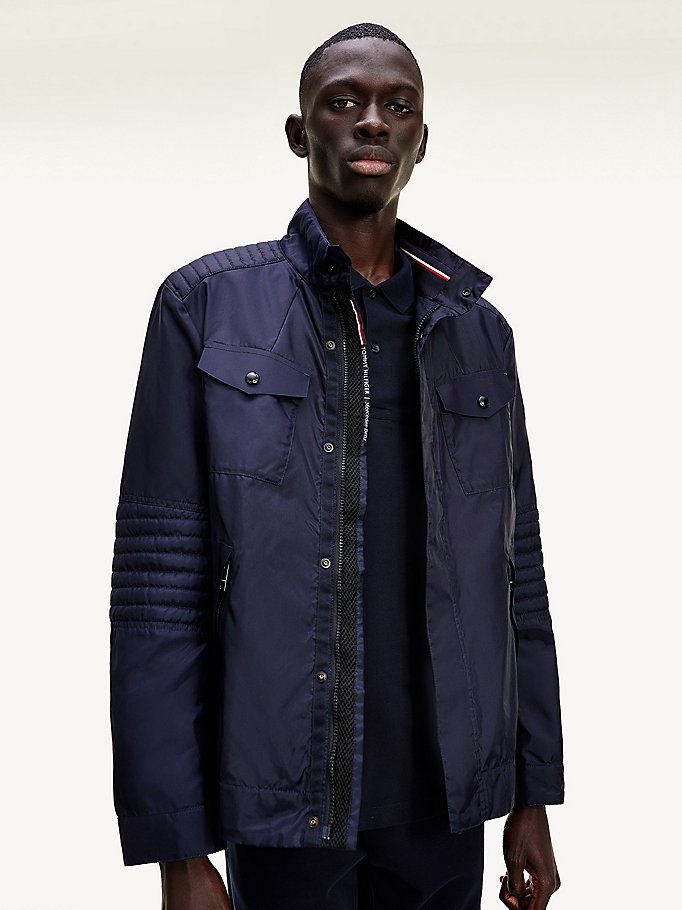 blue mercedes-benz utility jacket for men tommy hilfiger