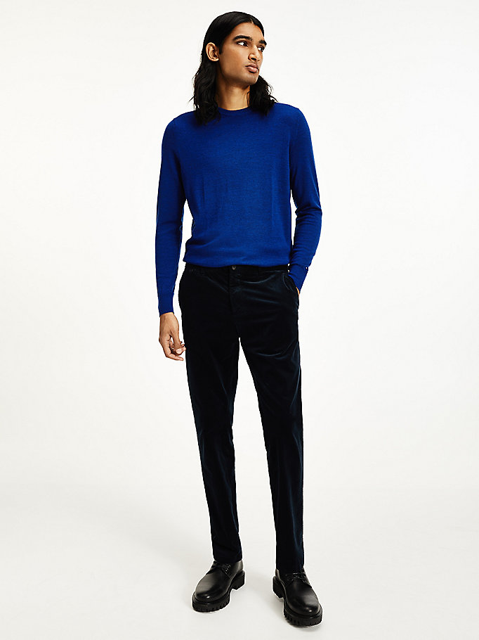blue th flex corduroy slim fit trousers for men tommy hilfiger