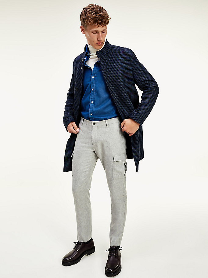 grey th flex wool blend cargo trousers for men tommy hilfiger
