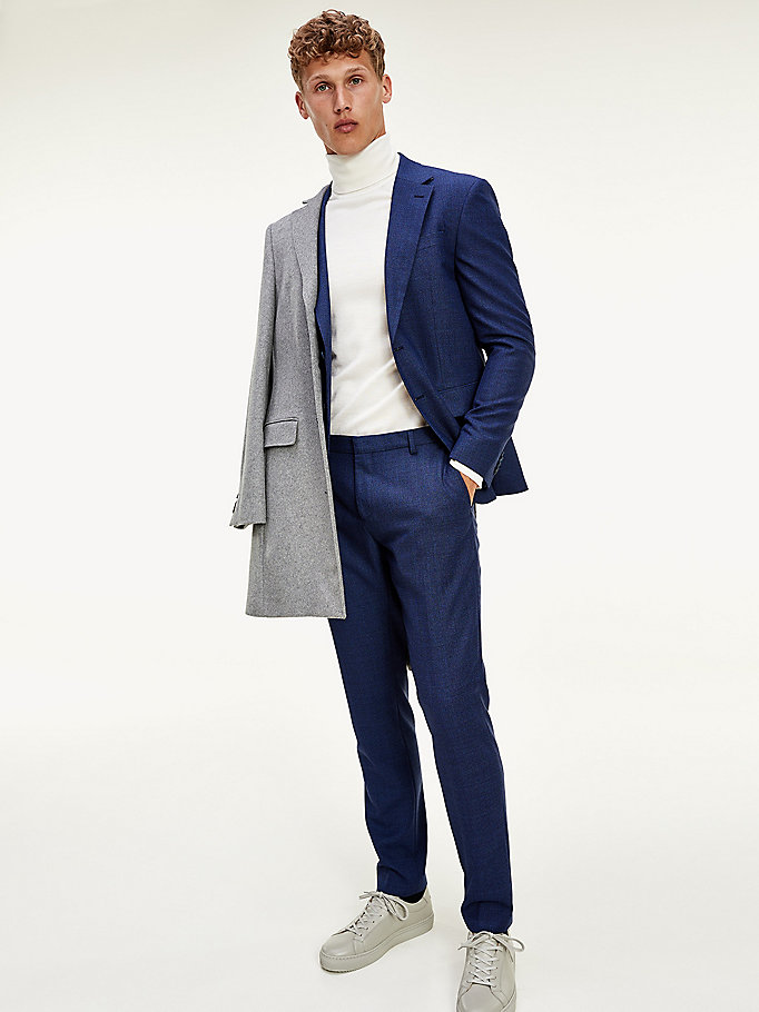 blue th flex check trousers for men tommy hilfiger