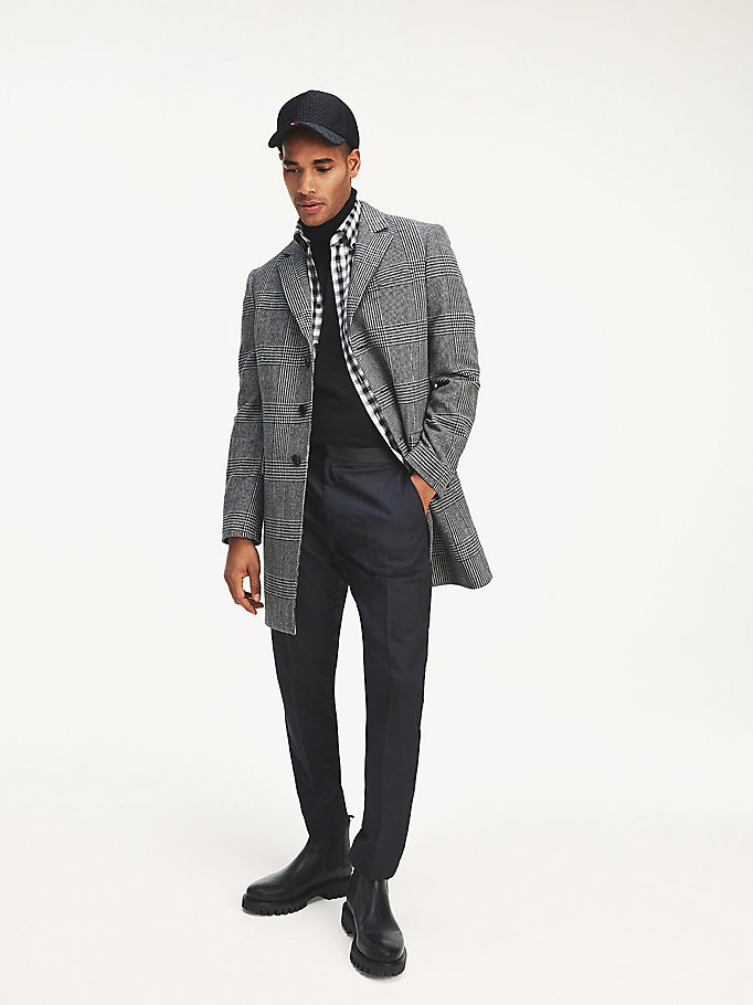 black brushed glen check coat for men tommy hilfiger