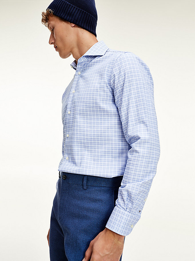 blue check pure cotton shirt for men tommy hilfiger