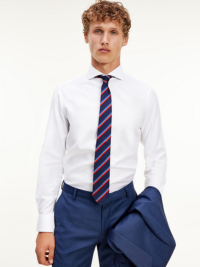 white spread collar pure cotton shirt for men tommy hilfiger