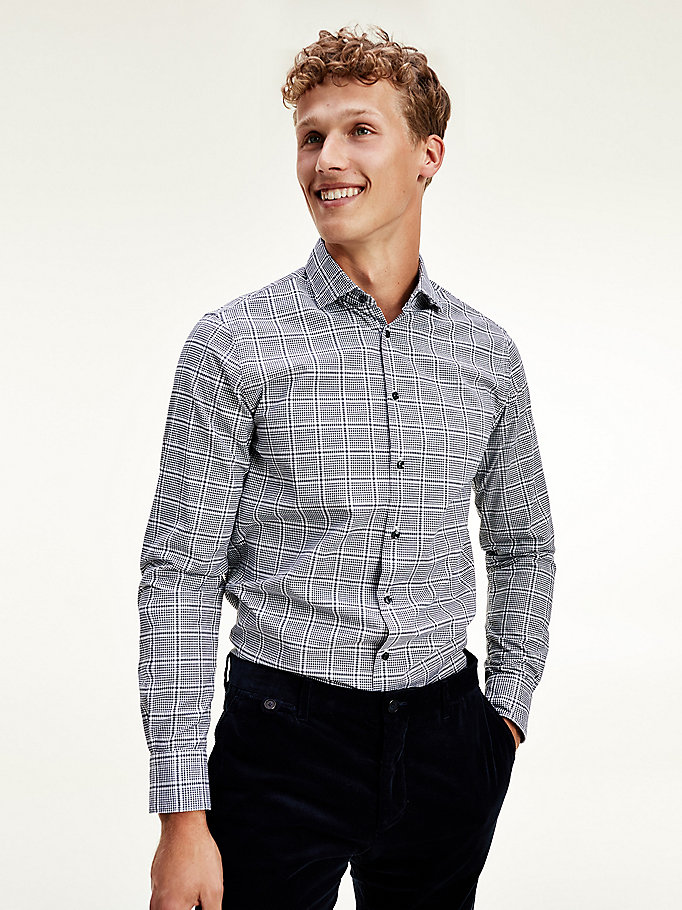 white windowpane check slim fit cotton shirt for men tommy hilfiger