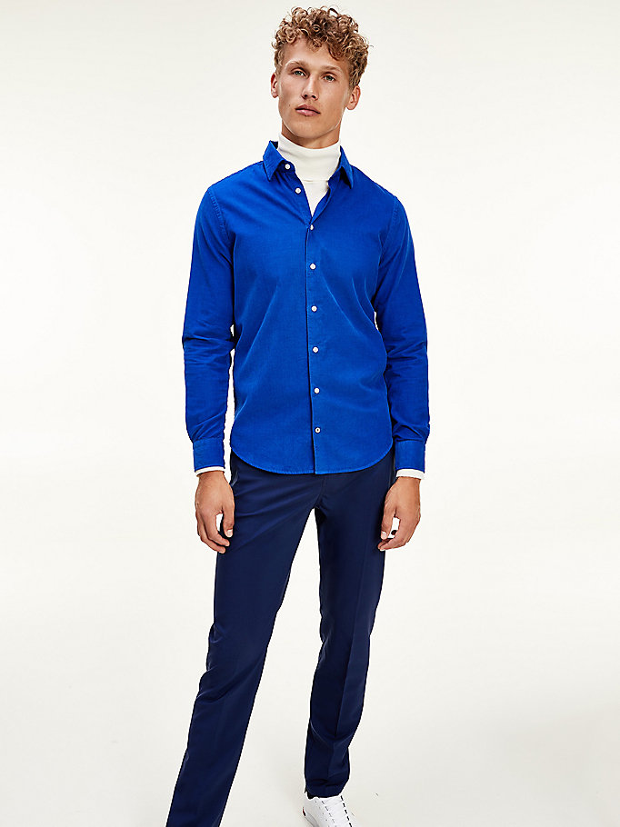 camicia slim fit in velluto a coste blu da men tommy hilfiger