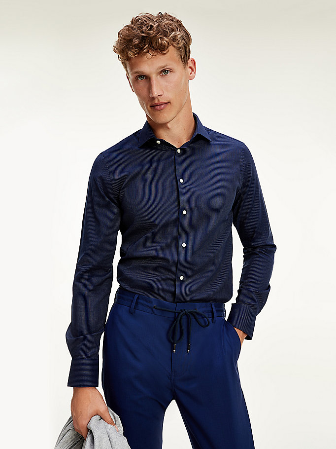 blue stripe slim fit pure cotton shirt for men tommy hilfiger