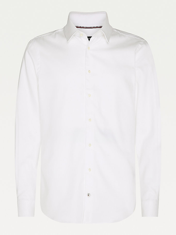 camicia th flex slim fit bianco da men tommy hilfiger