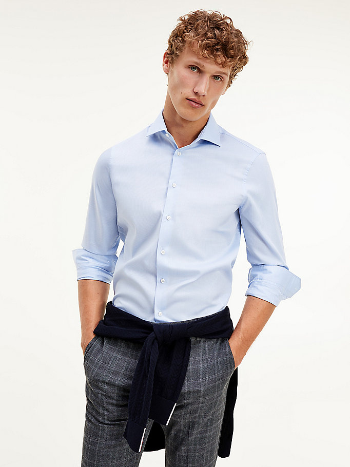 blue th flex cotton slim fit shirt for men tommy hilfiger