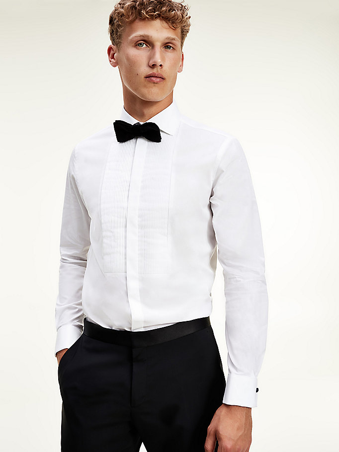 white tuxedo shirt for men tommy hilfiger