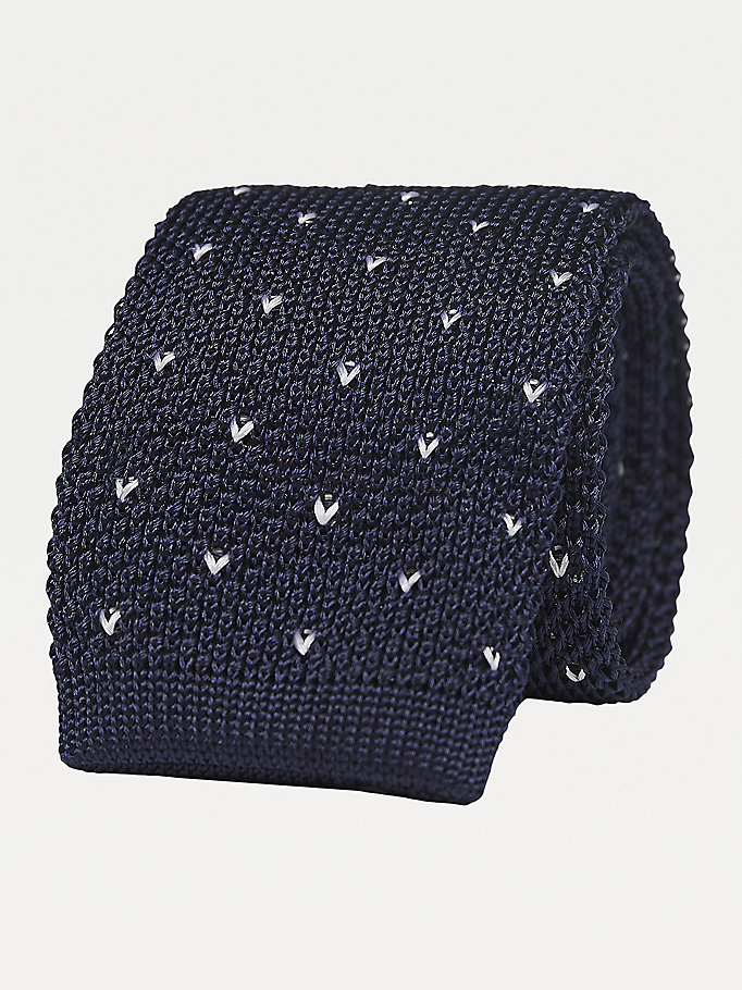 blue micro dot knitted silk tie for men tommy hilfiger