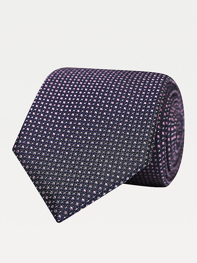 pink micro print pure silk tie for men tommy hilfiger