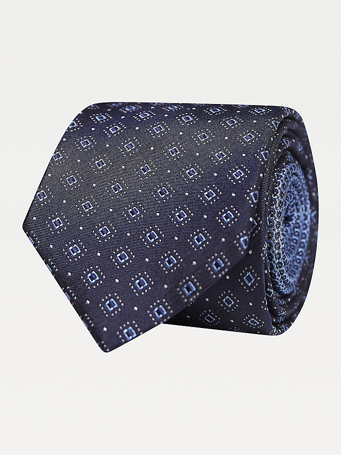 blue geometric print pure silk tie for men tommy hilfiger