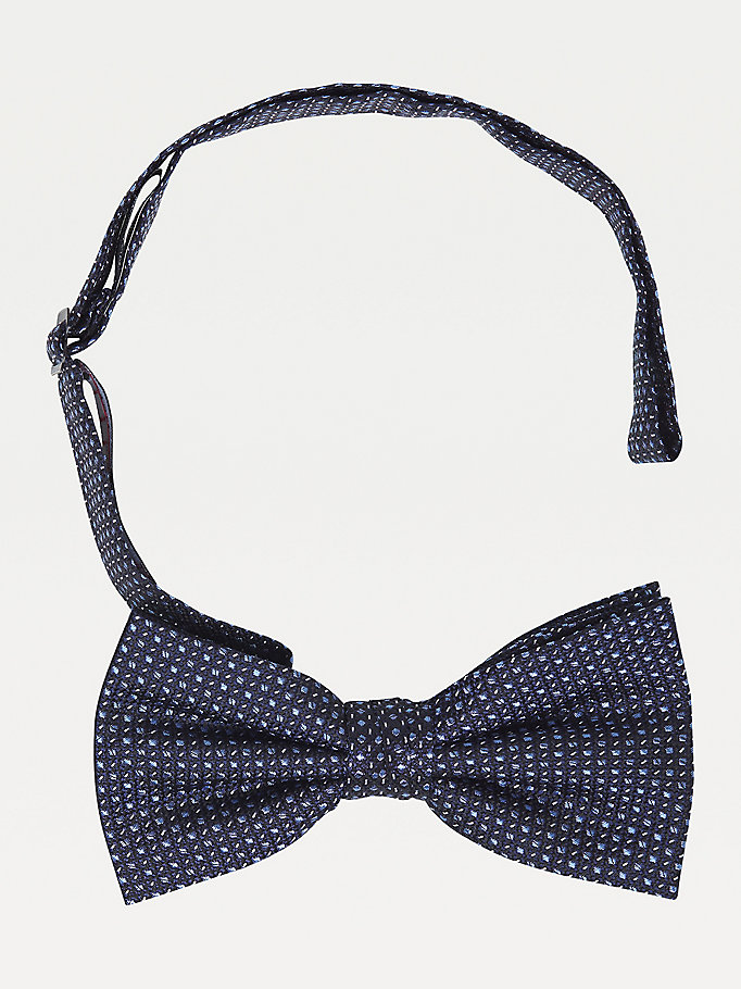blue micro dot pure silk bow tie for men tommy hilfiger