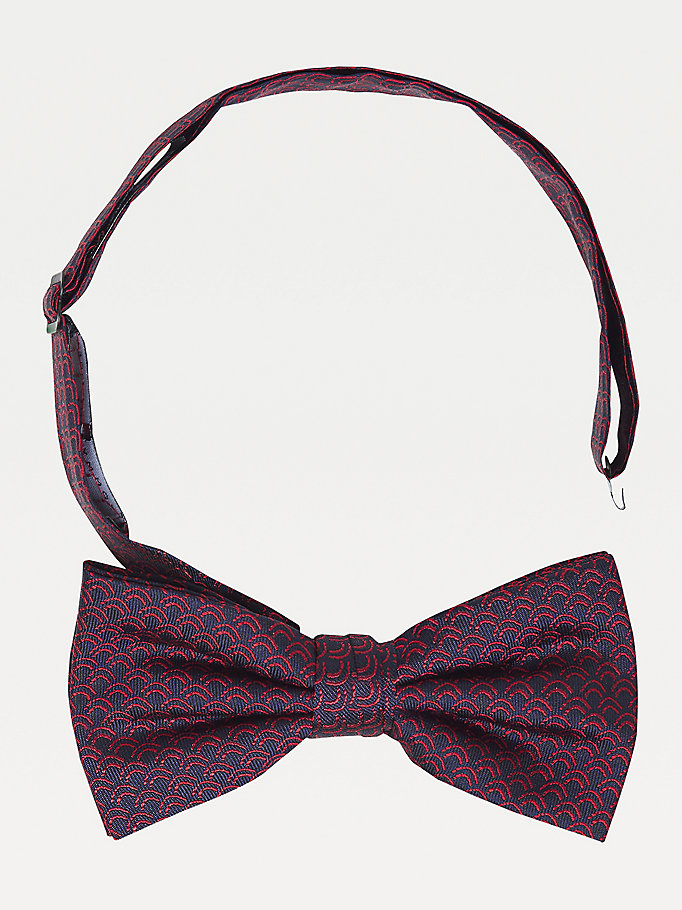 blue abstract pure silk bow tie for men tommy hilfiger